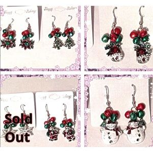 Christmas Earrings Tree Snowman Poinsettia Bells